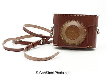 öreg, antik, fénykép, cameras, táska