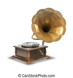 öreg, antik, gramofon