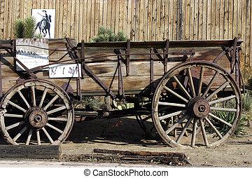 öreg, antik, tehervagon