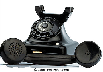 öreg, antik, telefon, telefon., retro, állandó