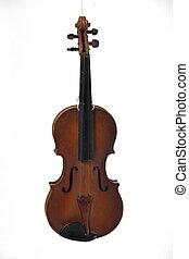 öreg, antik, violin.