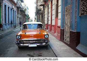 öreg, autó, alatt, havanna, kuba