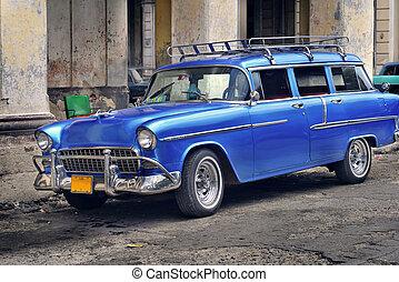 öreg, autó, alatt, havanna, utca