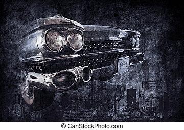 öreg, autó