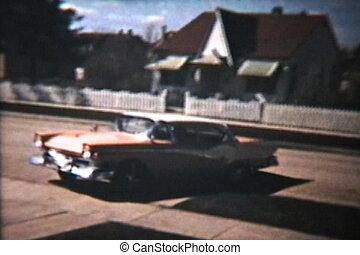 öreg, autók, fogad hátlap, (1964, vintage)