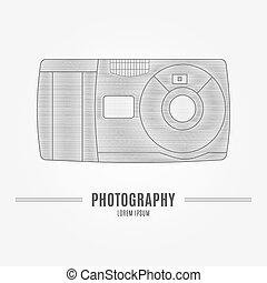 öreg, bélyegez, -, elszigetelt, háttér., fényképezőgép, fehér, elem, személyazonosság