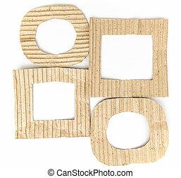 öreg, barna, kartonpapír, keret, állhatatos, elszigetelt, white