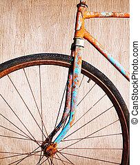 öreg, berozsdásodott, bicikli