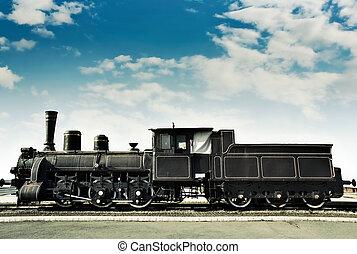 öreg, berozsdásodott, lokomotív