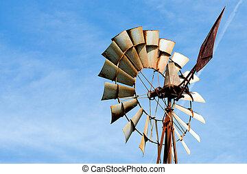 öreg, berozsdásodott, szélmalom, -ban, vidéki, tanya