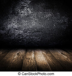 öreg, beton- közfal, és, fából való, floor., tervezés,...