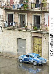 öreg, blue autó
