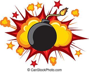 öreg, bombáz, elindítás, fordíts, felrobban