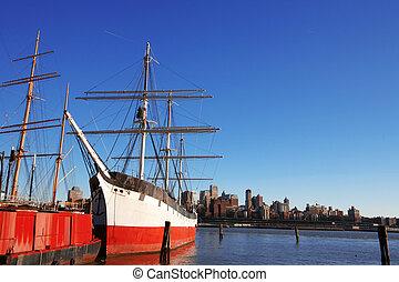 öreg, boszton, hajó, utca, tengeri kikötő, ny megállapít, vs...