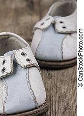 öreg, cipők, fából való, szüret, felszín, closeup, csecsemő