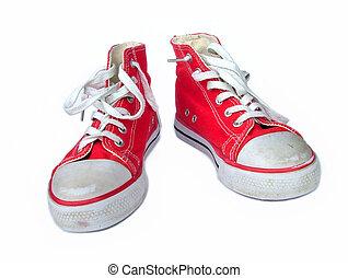 öreg, cipők, piros