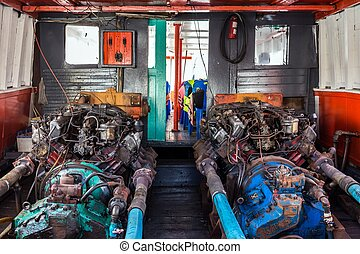 öreg, csónakázik, gép