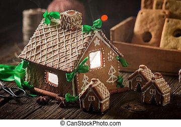 öreg, csodálatos, műhely, villaház, gyömbéres mézeskalács, karácsony