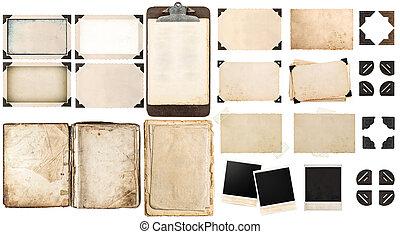 öreg, dolgozat, ágynemű, szüret, fénykép keret, és, kanyarodik, nyitott könyv