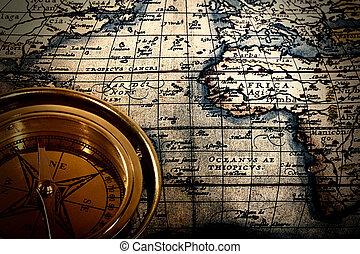 öreg, dolgozat, nyomtatott, térkép, noha, iránytű, elvont, halk élet