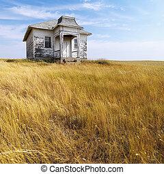 öreg, elhagyatott, house.