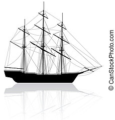 öreg, elszigetelt, black háttér, hajó, fehér