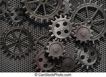 öreg, elvont, gép, berozsdásodott, alkatrészek,...
