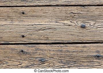 öreg, emelet, fából való, körmök, részletez, berozsdásodott