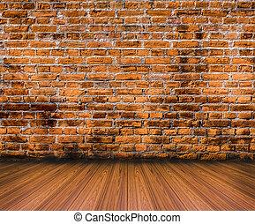 öreg, emelet, fal, erdő, háttér, tégla
