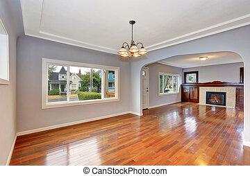 öreg, entryway, keményfa, épület, emelet, interior., üres