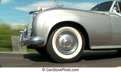 öreg, esküvő, autó