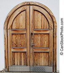 öreg, fából való, closeup, ajtó, castle-, kilátás