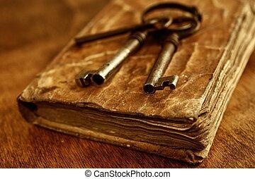 öreg, fém, kulcsok, képben látható, szüret, book.