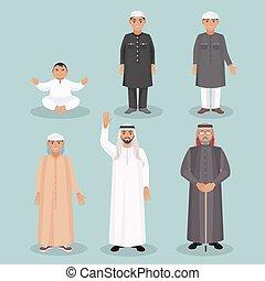 öreg, férfiak, személy, arab, Nemzedék, kölyök