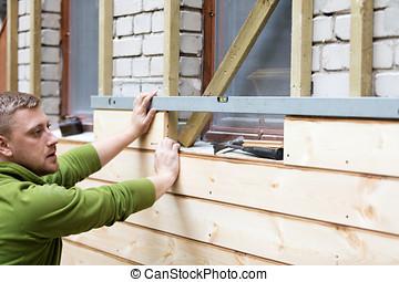 öreg, faház, épülethomlokzat, új, tégla, deszkák, felújít