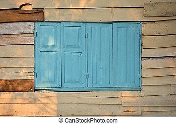 öreg, faház, fal, noha, fából való, ablak., struktúra, háttér