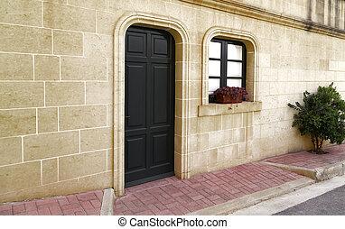 öreg, faház, tengertől távol eső, ablak, bejárati ajtó