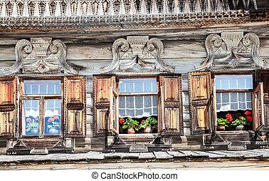 öreg, fahasáb, windows, épület, fából való, platbands, faragott, orosz