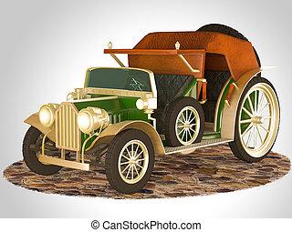 öreg, fairytale, ábra, vakolás, autó., 3