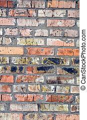 öreg, fal, 2, brick., háttér, piros