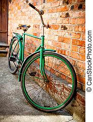 öreg, fal, ellen, retro, bicikli, tégla