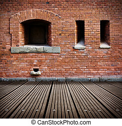 öreg, fal, floor., fából való, belső, grunge, tégla