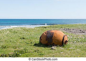 öreg, faroe, akna, berozsdásodott, tenger, sziget