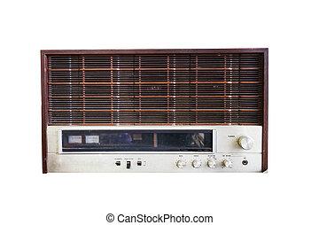 öreg, fehér, rádió, elszigetelt