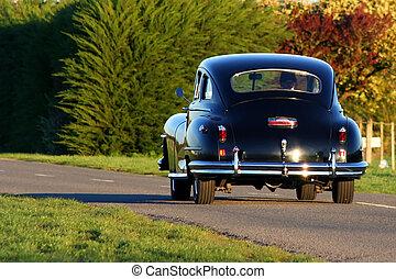 öreg, fekete, autó