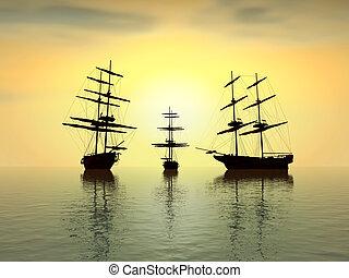 öreg, felett, digitális, -, óceán, napnyugta, artwork, hajó