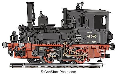 öreg, gőz, lokomotív