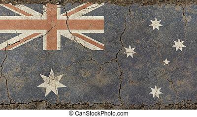 öreg, grunge, szüret, kifakult, lobogó, közül, ausztrália