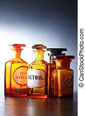 öreg, gyógyszerészeti, üvegcse