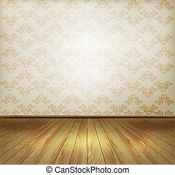 öreg, háttér, fal, floor., fából való, vector.